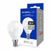 Светодиодная лампа GLOBAL G45 F 5W мягкий свет 220V E14 AP (1-GBL-143)