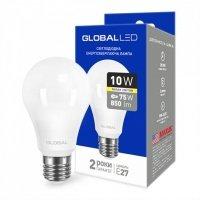 Светодиодная лампа GLOBAL A60 10W мягкий свет 220V E27 AL (1-GBL-163)
