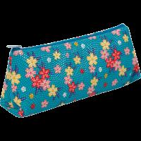 Пенал ZiBi треугольный 19 x 6,5 x 4,5 см, искусственная кожа, бирюзовый в цветочек (ZB16.0468)