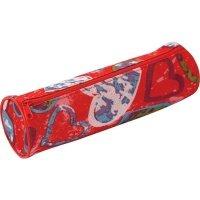 Пенал ZiBi круглый 20 x 6 x 6 см, текстильный, красный с сердечками (ZB16.0439)