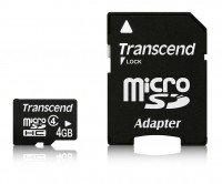 Карта памяти Transcend microSDHC 4GB Class 4 + SD-адаптер