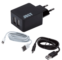 ЗУ сетевое МС JUST Core Dual USB Wall Charger (3.4A/17W, 2USB) + microUSB + Lightning Black
