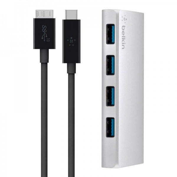 Купить USB Хаб Belkin Ultra-Slim Metal, 4 порта + USB-C кабель, активный с БП, Silver (4 порта)