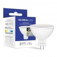 Светодиодная лампа GLOBAL MR16 3W мягкий свет 220V GU5.3 (1-GBL-111)