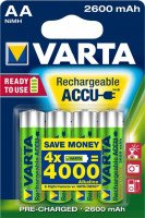 Аккумулятор VARTA RECHARGEABLE ACCU AA 2600mAh BLI 4 NI-MH (READY 2 USE) (5716101404)