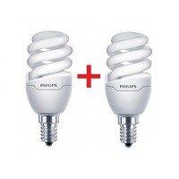 Комплект ламп энергосберегающих Philips E14 8W 220-240V WW Tornado T2 mini (1+1)