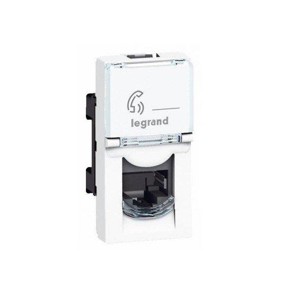 Купить Опции к пассивному сетевому оборудованию, Лицевая панель Legrand Mosaic для коннектора 2хRJ45 Keystone, white