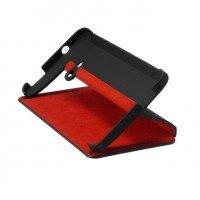 Сумка к мобильным телефонам HTC One/M7 Double dip flip case (black leather with red internal insert)
