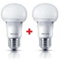 Комплект ламп светодиодных Philips LEDBulb E27 5-40W 230V 3000K A60 Essential (1+1)