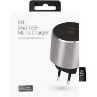 ЗУ сетевое МС Kit Platinum Dual USB Charger (USB 3.4 Amp), Space Grey