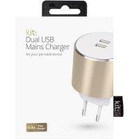 Сетевое зарядное устройство Kit Platinum Dual USB Charger 3.4A Gold
