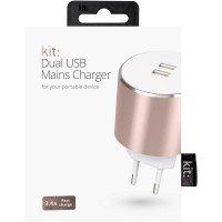 Сетевое зарядное устройство Kit Platinum Dual USB Charger 3.4A Rose Gold