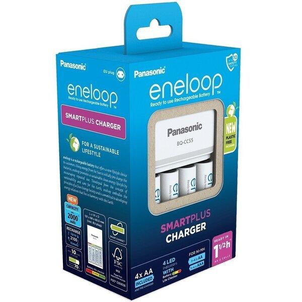 Купить Зарядные устройства для батареек, Зарядное устройство Panasonic Smart-Quick Charger+Eneloop 4AA 1900 mAh NI-MH(K-KJ55MCC40E)