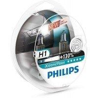 Лампа галогеновая Philips H1 X-treme VISION +130% (12258XV+S2)