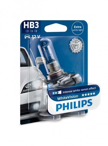 Купить Автолампы, Лампа галогеновая Philips HB3 WhiteVision +60% (9005WHVB1), PHILIPS Automotive