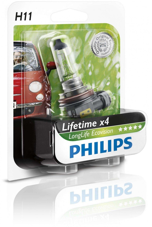 Лампа галогеновая Philips H11 LongLife EcoVision (12362LLECOB1) фото 1