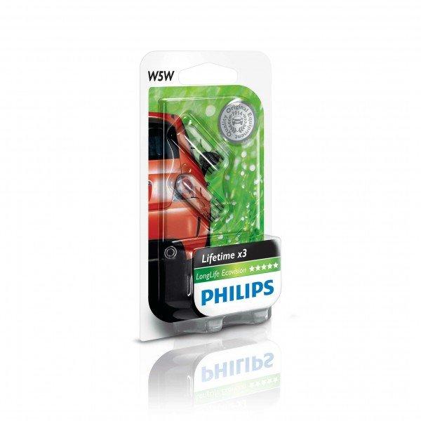 Автолампы, Лампа накаливания Philips W5W LongLife EcoVision (12961LLECOB2), PHILIPS Automotive  - купить со скидкой