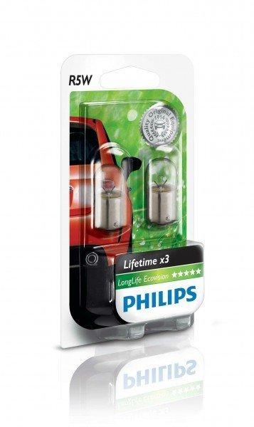 Купить Лампа накаливания Philips R5W LongLife EcoVision (12821LLECOB2), PHILIPS Automotive
