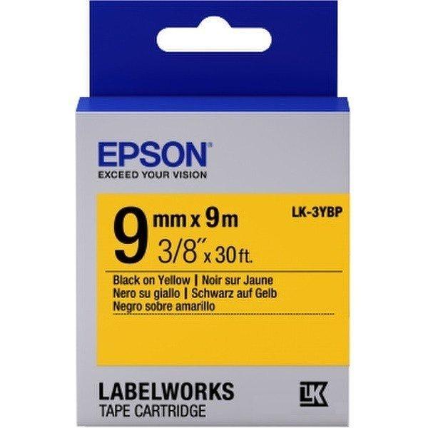 Картридж с лентой Epson LK3YBP принтеров LW-300/400/400VP/700 Pastel Blk/Yell 9mm/9m (C53S653002) фото 1
