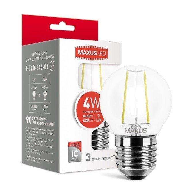 Светодиодная лампа MAXUS G45 FM 4W яркий свет 220V E27 (1-LED-546-01 фото 1