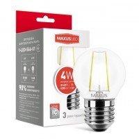 Світлодіодна лампа MAXUS G45 FM 4W яскраве світло 220V E27 (1-LED-546-01