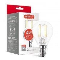 Светодиодная лампа MAXUS G45 FM 4W теплый свет 220V E14 (1-LED-547-01)
