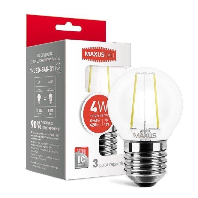 Светодиодная лампа MAXUS G45 FM 4W теплый свет 220V E27 (1-LED-545-01) фото 1
