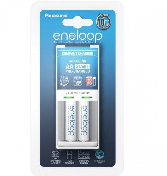 Купить Зарядное устройство Panasonic Compact Charger+ Eneloop 2AA 1900 mAh
