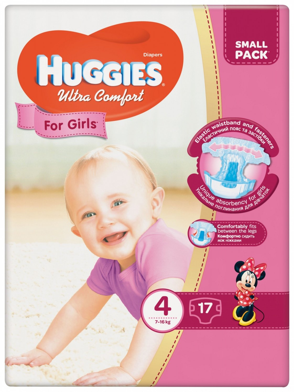 e0b5ebc4420e Подгузники Huggies ULTRA COMFORT 4 Small для девочек 17 шт (5029053565439)  фото 1