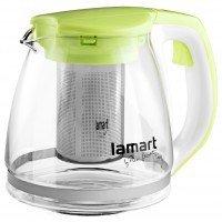 Чайник Lamart заварочный стеклянный с зелеными вставками 1,1л (LT7026)