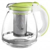 Чайник Lamart заварочный стеклянный с зелеными вставками 1,5л (LT7028)