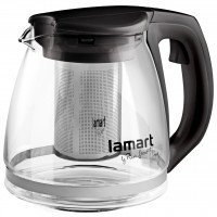 Чайник Lamart заварочный стеклянный с черными вставками 1,1л (LT7025)