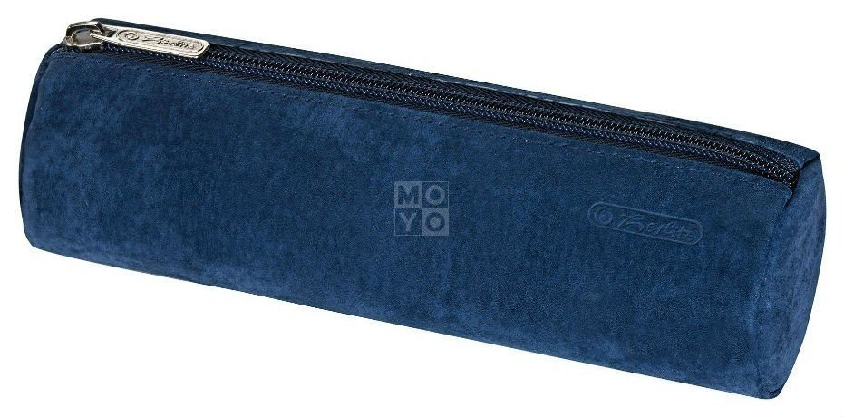 Пенал-косметичка Herlitz Round Leather замшевый синий (8200883B) фото