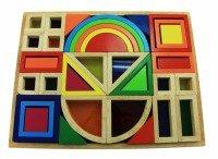 Конструктор деревянный goki Радужные строительные блоки с окнами (58620)