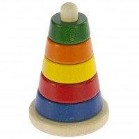 Пирамидка деревянная Nic коническая разноцветная (NIC2311)
