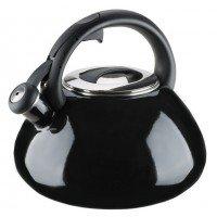 Эмалированный чайник со свистком GRANCHIO Colorito Nero черный 2,8 л 88625