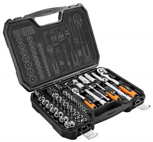 neo tools Набор торцевых головок NEO 1/2, 1/4 73 предмета CrV (08-673)