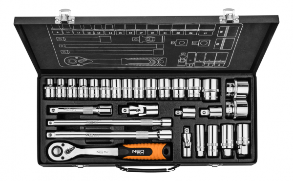neo tools Набор торцевых головок NEO 1/2, 3/8 28 предметов (08-677)