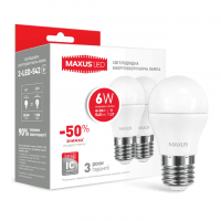 Комплект светодиодных ламп MAXUS G45 6W яркий свет 220V E27 (по 2 шт.) (2-LED-542-P)