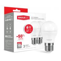 Комплект світлодіодних ламп MAXUS G45 6W яскраве світло 220V E27 (по 2 шт.) (2-LED-542-P)
