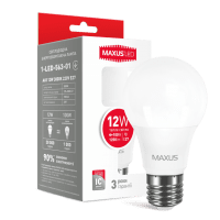 Светодиодная лампа MAXUS A65 12W мягкий свет 220V E27 (1-LED-563-01)