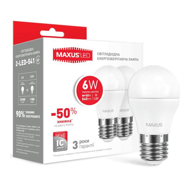Комплект светодиодных ламп MAXUS G45 6W мягкий свет 220V E27 (по 2 шт.) (2-LED-541-P) фото 1