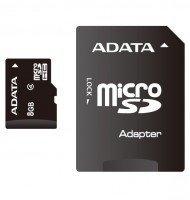 Карта памяти Adata microSDHC 8GB Class 4 R10MB/s + SD-адаптер
