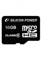 Карта памяти Silicon Power microSDHC 16GB Class 6 + adapter