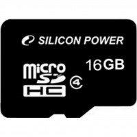Карта памяти Silicon Power microSDHC 16GB Class 4 R4MB/s