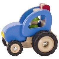Машинка деревянная goki Трактор синий (55928G)