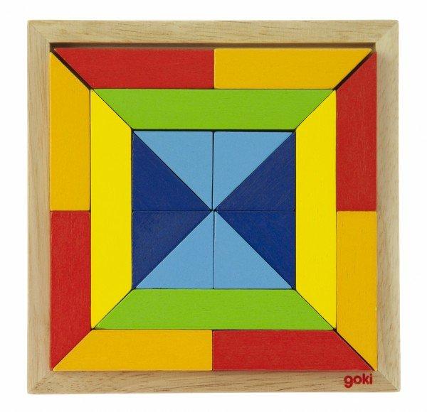 Купить Деревянный пазл goki Мир форм - квадрат (57572-3)