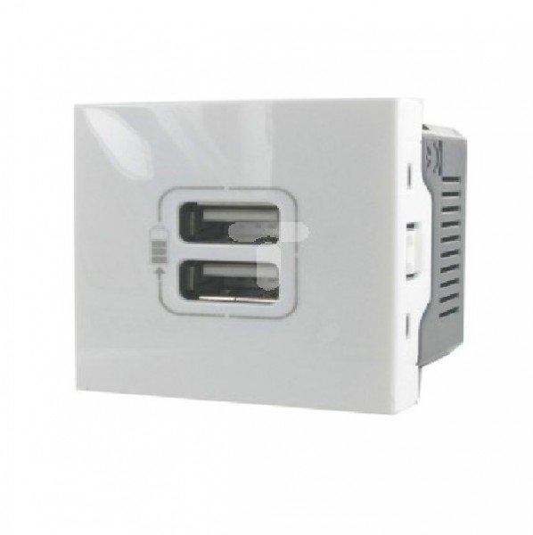 Опции к пассивному сетевому оборудованию, Розетка MOSAIC Legrand USB для зарядки, 2 модуля белый  - купить со скидкой