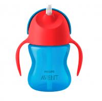 Чашка AVENT с трубочкой 210 мл. 9+ синий (SCF796/01)