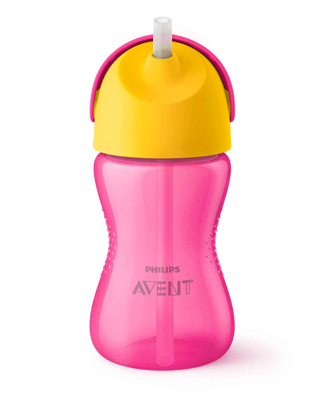 Чашка AVENT с трубочкой 300 мл. 12+ розовый (SCF798/02) фото 1